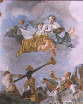 Allegorical figures, detail of the ceiling of the Great Gallery