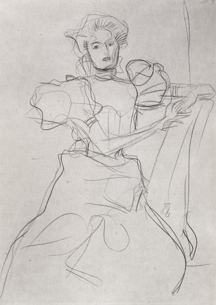 Klimt, Gustav : Seated Woman - Study for a...