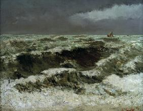 Gustave Courbet,Waves with Sailing Boats