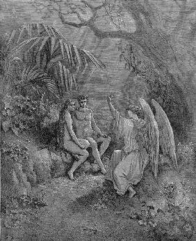 "Raphael talks to Adam and Eve. Illustration for John Milton's ""Paradise Lost"""