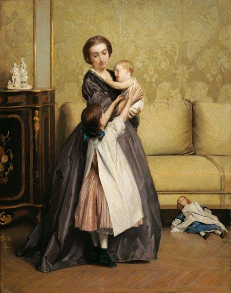 Young Mother with her Children in a Salon