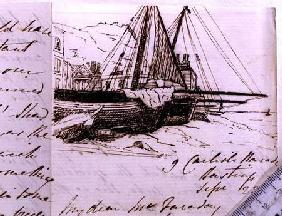 RI MS F1 I160 Vignette of fishing boats at Hastings, a sketch in a letter to Michael Faraday (1791-1