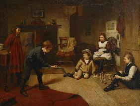 Children Playing in an Interior