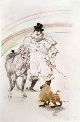 At the Circus: performing horse and monkey, 1899 (chalk, crayons and