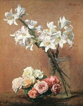 Coloured flower still life