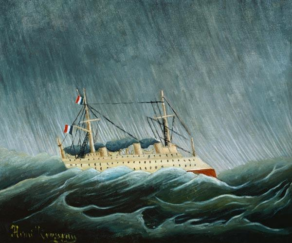 Rousseau, Henri Julien-F�lix : Steamship in the storm.