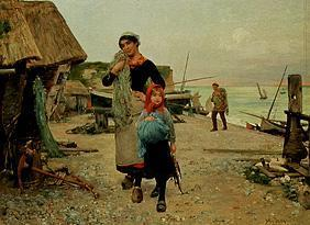 Henry Bacon - Fisherman, returning home to the catch with her nets.