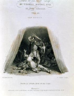 Death of Brian Boru in his Tent, engraved by Edward Finden (1791-1857), title page of 'The History o