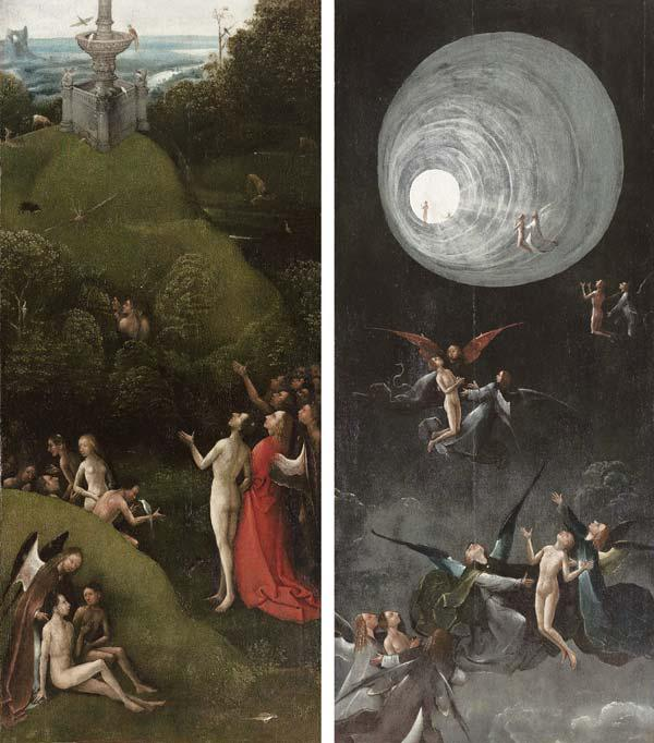 """The Earthly Paradise"", detail of visions from beyond, two (of four) panels"