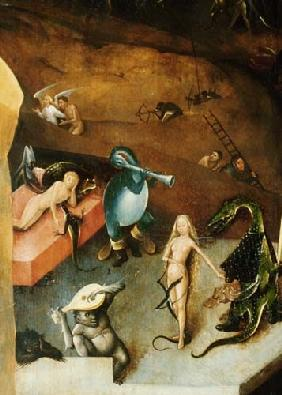 Last Judgement triptych detail from the middle panel (WeiblAkt with hang-gliders)