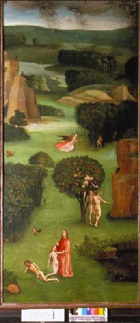 The Last Judgement triptych detail Li. Wing: Creation of Eva, Fall of Man, expulsion
