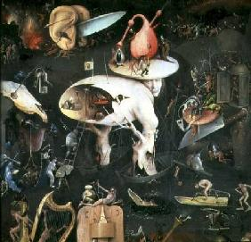 The Garden of Earthly Delights: Hell, right wing of triptych, detail of 'Tree Man'
