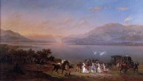 Empress Josephine (1763-1814) arriving to visit Napoleon (1769-1821) in Italy on the banks of Lake G