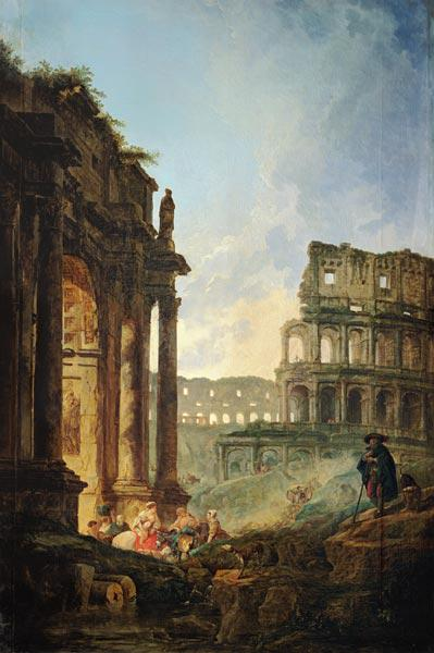 Ideal Italian landscape with ruins