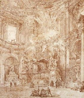 Interior of a church (red chalk on paper)