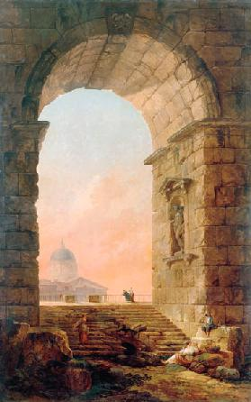 Landscape with an Arch and the St. Peter's Basilica in Rome