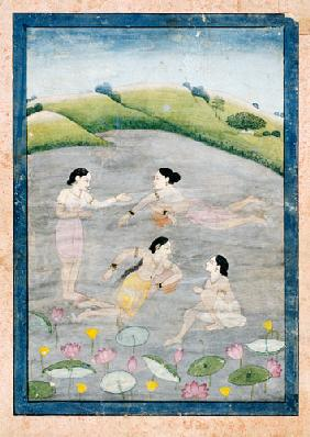 The Wives Of Raga Hindola Swimming In A Lake With The Aid Of Pitchers, The Foreground With Waterlili