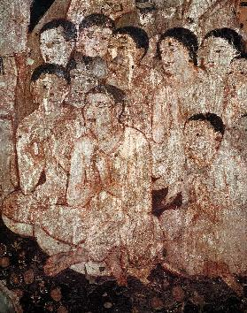 Group of disciples mourning the death of Buddha from the interior of Cave 17
