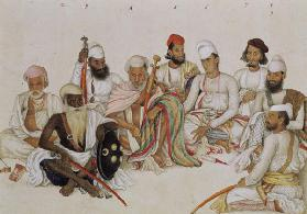 Nine courtiers and servants of the Raja Patiala, c.1817 (pencil & gouache on paper)