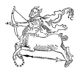 Sagittarius (the Centaur) an illustration from the 'Poeticon Astronomicon' by C.J. Hyginus, Venice