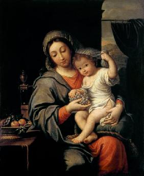 Madonna with child and grapes