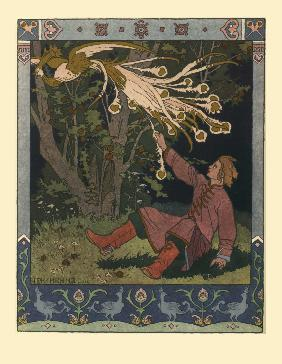 Illustration for the Fairy tale of Ivan Tsarevich, the Firebird, and the Gray Wolf