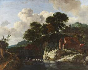 Hilly Landscape with a Watermill