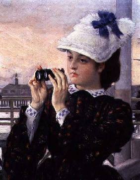 The Captain's Daughter, detail of the girl with her binoculars
