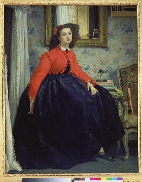 Young woman in red waistcoat