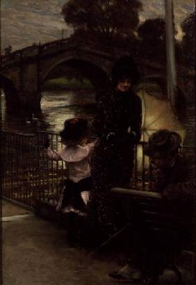Portrait of the Artist with Mrs.Kathleen Newton and her niece, Lilian Hervey, by the Thames at Richm