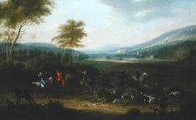 A Hunting Party in a Landscape