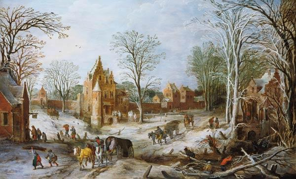 A wooded winter landscape with a cart (panel)