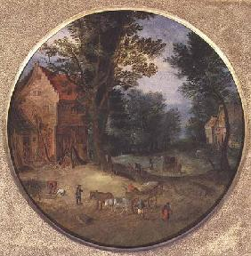 Flemish landscape with carts and figures (tondo, panel)