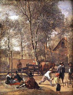 Skittle Players outside an Inn