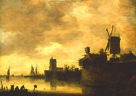 Riverside with windmills 1648
