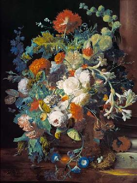 Bouquet of flowers at a column