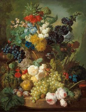 Still life with fruits and flowers