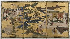Spring in the Palace, six-fold screen from 'The Tale of Genji'