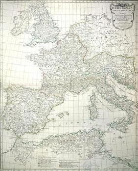 Map of the western part of the Roman Empire, 1763 (coloured engraving)