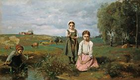 Children beside a brook in the countryside, Lormes (oil on canvas)