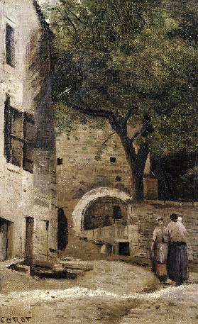 A village scene (oil on canvas)