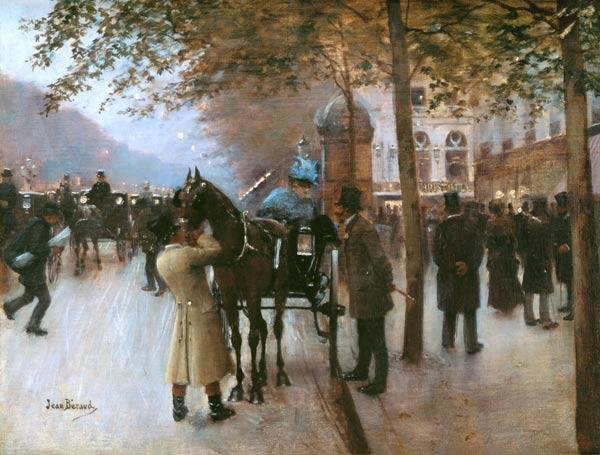 The Boulevards, Evening in Front of the Cafe Napolitain, late 19th century (oil on canvas)