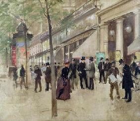 The Boulevard Montmartre and the Theatre des Varietes, c.1886 (oil on canvas)