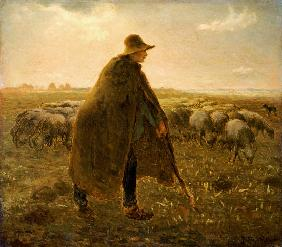 Millet, Jean-Fran�ois : Shepherd with herd at suns...