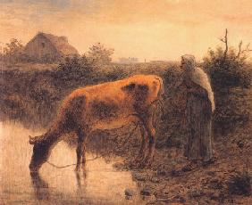 Millet, Jean-Fran�ois : Farmer with a cow