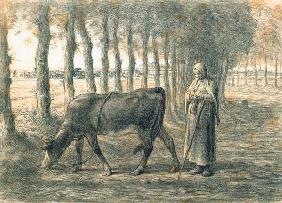 Millet, Jean-Fran�ois : Woman with a cow