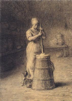 Millet, Jean-Fran�ois : Woman who stirs butter up