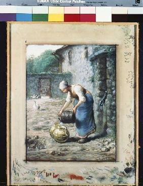Woman with water jugs