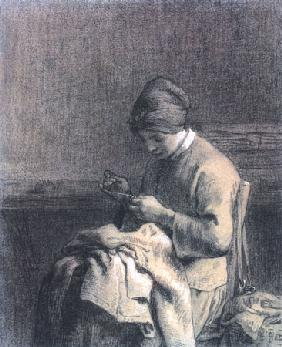 Millet, Jean-Fran�ois : Woman mending work