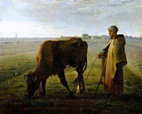 Woman Grazing her Cow